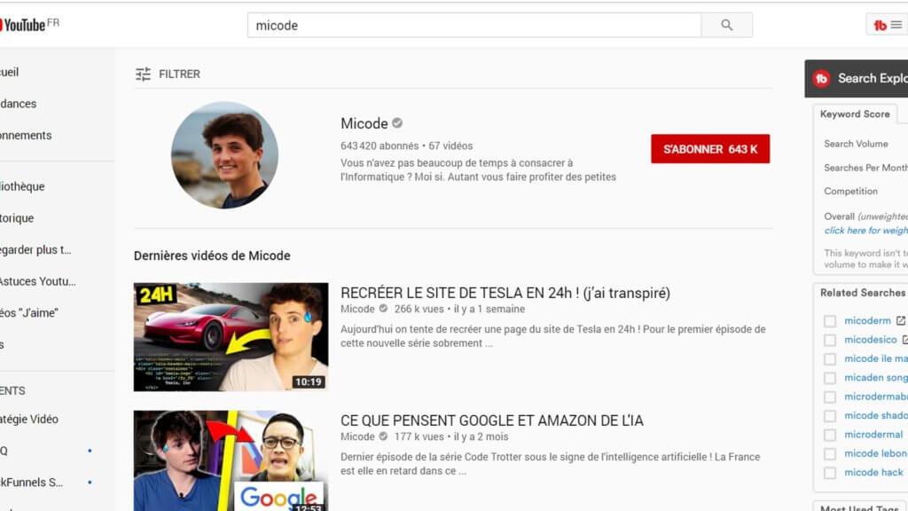 Micode chaîne youtube