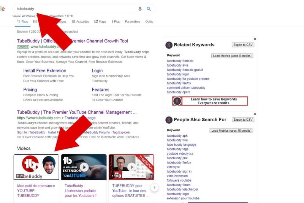 résultats de recherche google tubebuddy